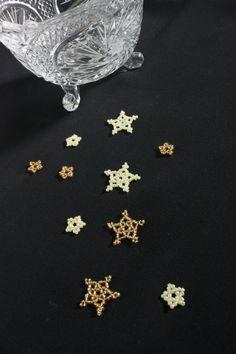 10 Beaded Stars Table Confetti; Solid Color Gold and Cream; Table Decor; Table Scatter; Wedding Confetti; Party Confetti