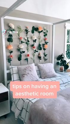 does not belong to me! credit to rightful owner! Cute Bedroom Decor, Room Design Bedroom, Room Ideas Bedroom, Girls Bedroom, Decor Room, Cute Bedroom Ideas For Teens, Flower Room Decor, Bedroom Inspo, Diy Room Decor Videos
