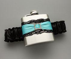 Black & Tiffany Blue FLASK GARTER   Garter with by MoonshineBelle