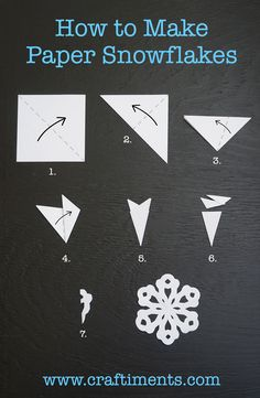 How to Make a Six Sided Paper Snowflake - - Holiday wreaths christmas,Holiday crafts for kids to make,Holiday cookies christmas, Diy Christmas Snowflakes, Christmas Art, Christmas Projects, Winter Christmas, Christmas Decorations, Paper Snowflakes Easy, How To Make Snowflakes, Snowflake Craft, Paper Snowflake Designs