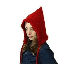 Red Pixie Hat - Christmas Gift for Her - Fall Winter Fashion - Women and Teens Accessories - Chunky Knit on Etsy, $28.00