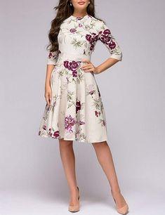4785e0b6aa5c Simple Flavor Women's Floral Vintage Midi Dress 3/4 Sleeve Elegant Evening  Dress at Amazon Women's Clothing store:
