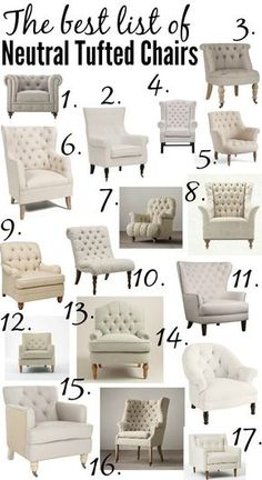 The ULTIMATE list of the best neutral tufted chairs from high to low price & every size and shape in between! Living Room Sofa, Home Living Room, Living Room Furniture, Living Room Designs, Living Room Decor, Bedroom Decor, Apartment Living, Bedroom Ideas, Bedroom Apartment