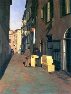 Old Street in Nice - Felix Vallotton Fantasy Landscape, Urban Landscape, Landscape Art, Landscape Paintings, Pierre Bonnard, Matisse, Edouard Vuillard, Toulouse, Pintura Exterior