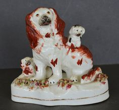Antique Staffordshire Spaniel Dog With Sweet Pups ~ C1860