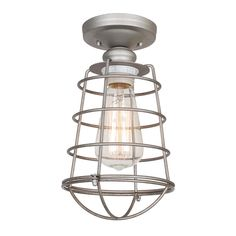 Design House Ajax Collection 1-Light Galvanized Indoor Ceiling Mount-519686 - The Home Depot