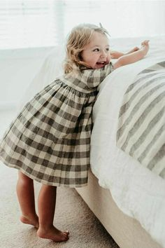 Handmade Checked Linen Dress | CanvasHouseDesigns on Etsy