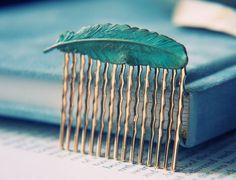 Patina Feather Hair Comb