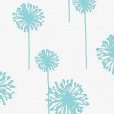 Aqua dandelion fabric- would be cute for a baby boy or girl's room.. or even a duvet or curtains for a tween girl