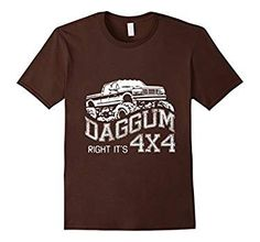Men's Daggum Right It's 4x4 - Redneck Truck Shirt 3XL Brown
