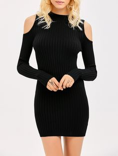 3cf68f2dd5 Bodycon Cold Shoulder Knitted Ribbed Dress. Punk Rock Fashion