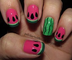 Funky nail art, this blog has a ton of nail art ideas :) .. I can do this