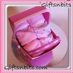 Twin Nappy Babies in a Personalised Pink  Pram. Paper pram is handcrafted & can be personalised with Baby name, date of birth & weight. Nappy babies are made with 2 nappies, 2 mini washcloths & 1 pair of socks . www.giftsnbits.com Pink Prams, Birth Weight, Washing Clothes, Baby Names, Baby Gifts, Twin, Ice Cream, Socks, Treats