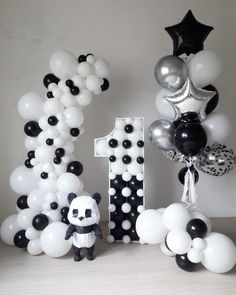 Panda Themed Party, Panda Birthday Party, Panda Party, Baby First Birthday, Boy Birthday Parties, Birthday Balloons, Balloon Decorations Party, Birthday Party Decorations, Bolo Panda