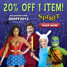 #Halloween coupons discounts savings clearance specials blowouts New for 2013 http://www.planetgoldilocks.com/halloween/coupons.html Shop early for costumes and props and get 20% OFF 1 item f Use #coupon promo code 20OFF2013 at checkout. Valid 8/4/13-10/25/13.