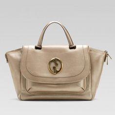 251813 Ah90t 9504 Gucci 1973 Metallic Champagne Farbe Leder Top Griff Tasche Gucci Damen Handtaschen