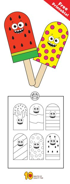 Free printable paper popsicles! #preschool #kidsprintables #kidsactivities #kidscrafts#summercrafts