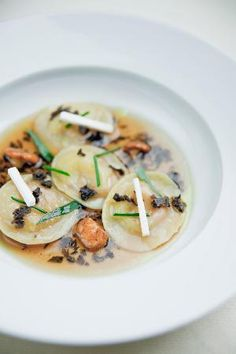 Example dishes from Alain Ducasse at The Dorchester: Foie gras ravioli, delicate duck consomme, fresh herbs. Wine Recipes, Gourmet Recipes, Chefs, Alain Ducasse, Le Diner, Pasta, Food Presentation, Food Plating, Food Inspiration