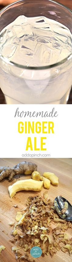 Homemade Ginger Ale - This Homemade Ginger Ale recipe takes a few minutes, but is well worth the time! The flavors of the fresh ginger shine through and make this one glass of ginger ale you won't want to miss! // addapinch.com