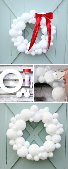 Wonderful looking white Styrofoam balls as a Christmas wreath. The pure white color of the wreath helps symbolize the genuine purity of the design. A red ribbon accent is added on top to make it look even better.