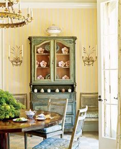 O Magazine : Walker Simmons Designs  green painted hutch, swedish light and bright dining room