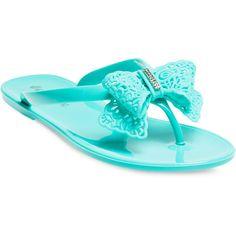 Rhinestone Bow Jelly Flip Flops
