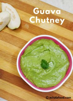 Guava Chutney is a spicy, tangy and slightly pungent accompaniment. It is yet another yummy way to consume the wonderful yet humble guava. A dash of spiciness combined with the fruit's natural swee… Guava Recipes, Chutney Recipes, Veg Recipes, Other Recipes, Indian Food Recipes, Sweet Recipes, Indian Desserts, Recipies, Cooking Bread