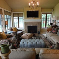 Family room furniture arrangement on pinterest family for Living room seating arrangements