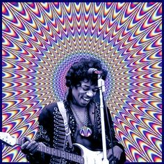 ♡♥Jimi Hendrix (looks moving) psychedelic - click on pic to see a larger (looks moving) psychedelic♥♡