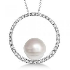 Circle Diamond & Paspaley South Sea Pearl Pendant 14K W. Gold (13mm)