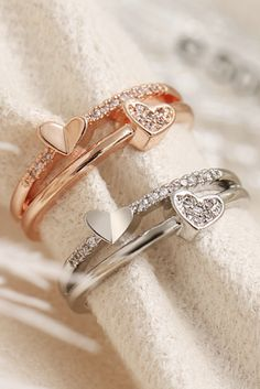 Lindsay Simple & Cute Crystal Double Heart Ring - Cute Simple Double Crystal Heart Ring Fashion Jewelry for Women for Teen Girls – lindos anillos - Fashion Rings, Fashion Jewelry, Women Jewelry, Amethyst Gemstone, Gemstone Earrings, Diamond Earrings, Beaded Necklace, Necklaces, Accesorios Casual