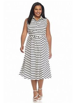 Julian Taylor Plus Size Striped Shirt Dress