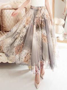 Gray Beach Floral Maxi Skirt