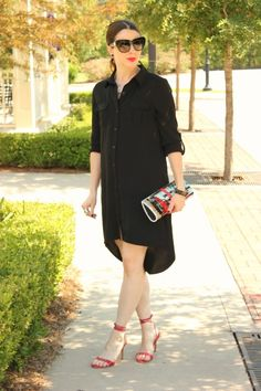 Black shirt dress + red heels. Great for early maternity wear too.