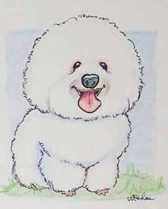 Bichon Frise Cartoon: This captures the personality of the breed.