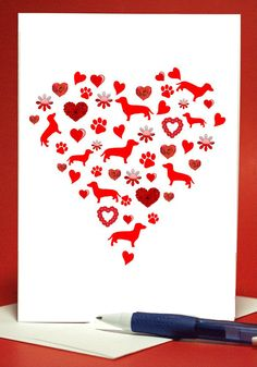 Doxie heart, just in time for Valentine's Day! From etsy seller LoveAtFirstBark I love this!
