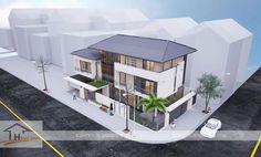 Thiết kế biệt thự phố mái thái 3 tầng hiện đại với mảnh đất 2 mặt tiền - Thiết kế kiến trúc nhà ở