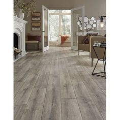 Mannington Restoration Wide Plank 8 x 51 x Oak Laminate Flooring in Steam Color: Steam White Oak Floors, Light Grey Wood Floors, Floor Colors, Wall Colors, Home Remodeling, Bedroom Remodeling, New Homes, Flooring Ideas, Wood Flooring