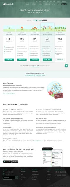 Pricing page inspiration - saas Freshdesk