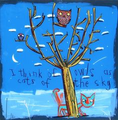 David Kuijers - Cats in the Sky Design, Visual, Sky, Whimsy, Painting, Art