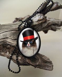 Top hat steampunk style cat in a glass by ArtiFartiGifts