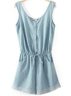 Blue Sleeveless Embroidered Drawstring Denim Dress US$28.33