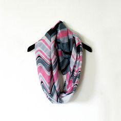 Chevron Zig Zag Long Scarf /Pink  & Grey Infinity by WearMeUp