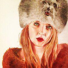 PORTRAIT for anti fur campaign. Oil painting  daisy Bernard art