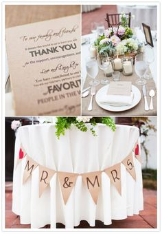 Wood box centerpiece, thank you note menus, and Mr. & Mrs. Banner hanging from front of sweetheart table. Love it all.