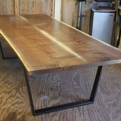 Modern Live Edge Walnut Dining Table by Aaron Smith