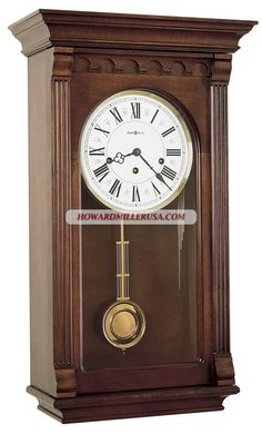 chiming Key-Wound wall clock 613229 Alcott Finished in Windsor Cherry-This traditional wall clock has an impressive pediment features a sculptured cove and enlarged dentil molding.