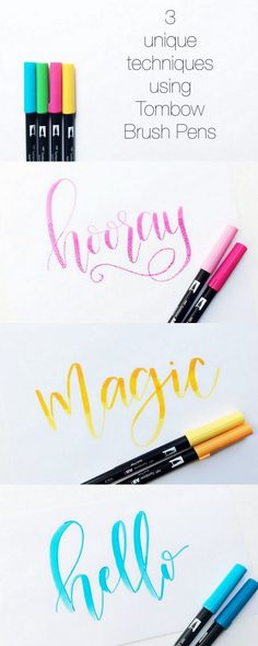 3 Unique Techniques Using Tombow Brush Pens. Learn three fun ways to add character to your hand lettering using your Dual Tip Tombow Brush Pens! Calligraphy Letters, Typography Letters, Modern Calligraphy, Brush Pen Calligraphy, Chalkboard Lettering, Learn Calligraphy, Islamic Calligraphy, Typography Poster, Typography Design