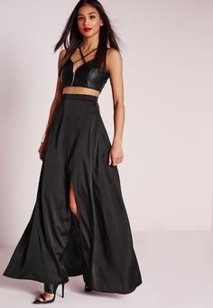 If dressing to the nines in a maxi skirt is your go-to for a summer wedding, consider a piece like this black Missguided Satin Wrap Maxi Skirt. | Mesonista