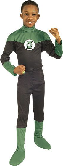 Kids Green Lantern Costume - Join in the DC Comics Superhero world with this awesome Justice League Green Lantern costume! Join him in his quest to defeat the bad guys! This costume comes with a jumpsuit with light green accents and a polyfoam Green Lantern patch. Lots of fun for Halloween!